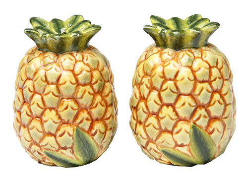 Tropical Yellow Pineapples Salt and Pepper Shakers Set