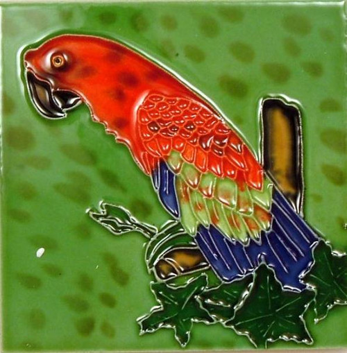 Tropical Scarlet Macaw Parrot 4x4 Inches Ceramic Tile Blue Tail
