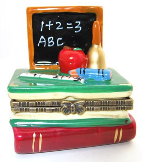 ABC Blackboard on Stack of Books Teachers Pet Hinged Trinket Box Porcelain