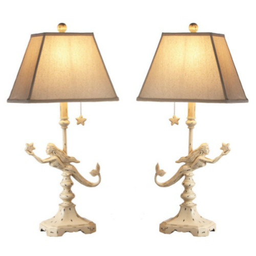 Midwest CBK Coastal Off White Mermaids Electric Table Lamps 60 Watt Set of 2