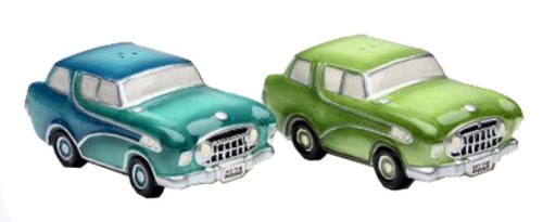 Road Trip Retro Sedan Cars Salt and Pepper Shakers Set Green and Blue