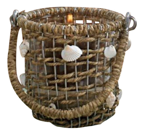 Waterside Natural Jute Basketweave and Shells with Glass Votive Holder
