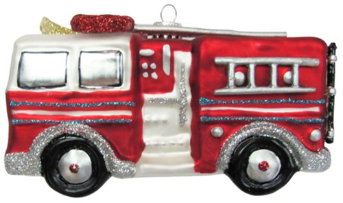 Christmas by Krebs Fireman Firefighter Fire Engine Truck Glass Ornament