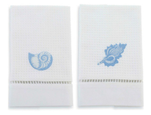 Mud Pie White Waffle Weave Embroidered Blue Shells Guest Towels Set of 2