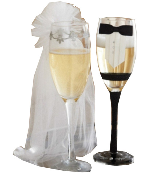 Mud Pie Bride with Veil and Groom in Black Tie Stemmed Champagne Glass Set of 2