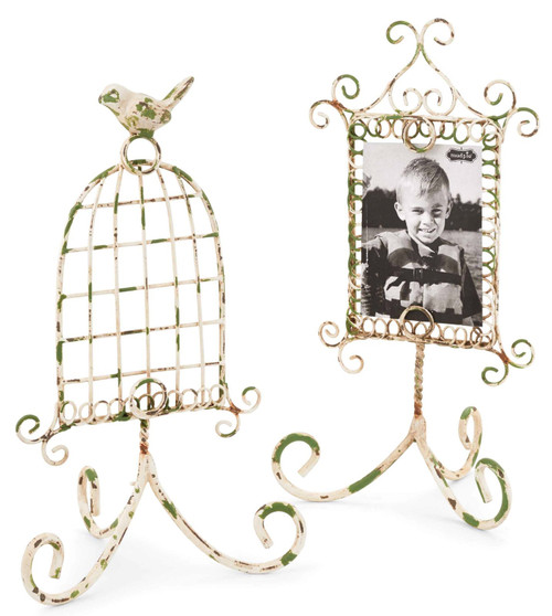 Mud Pie Distressed Wire 4X6 Picture Photo Frames Set of 2 Tabletop Desktop