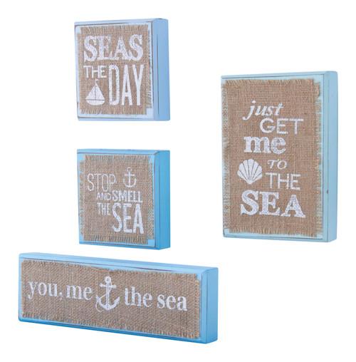 Mud Pie Blue Sea Wooden Block Plaques Set of 4 Natural Burlap Tabletop