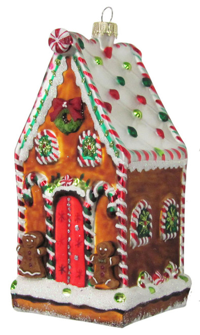 Christmas by Krebs Tasty Decorated Gingerbread House Glass Holiday Ornament