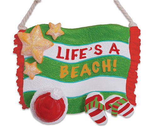 Cape Shore Lifes a Beach Santa Hat Flip Flop Sandals Christmas Holiday Ornament