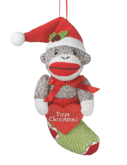 Midwest CBK Babys First Christmas Sock Monkey in Stocking Holiday Ornament