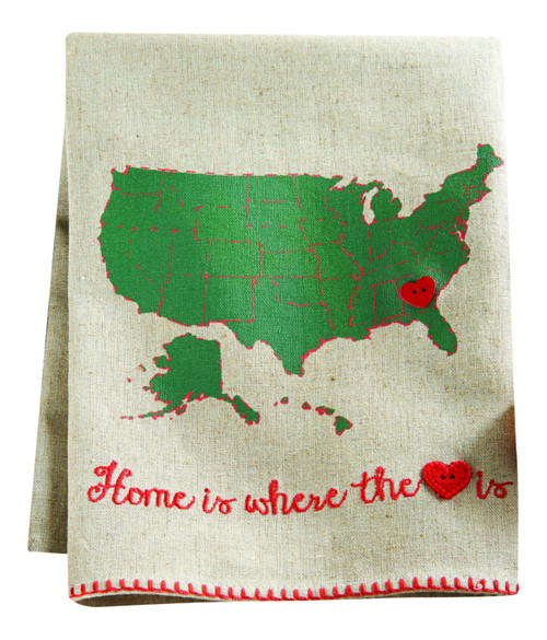 Mud Pie Linen Tea Towel Home is Where the Heart Is United States Map 21 Inches