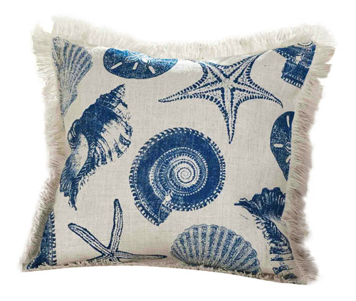 Mud Pie Ocean Blue Nautilus Conch Shells Starfish Accent Throw Pillow 19 Inches