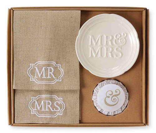 Mud Pie Mr and Mrs Embroidered Guest Towels and Soap Dish Bathroom 4 Piece Set