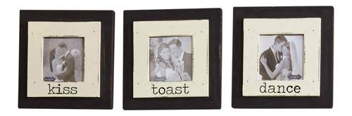 Mud Pie Dance Kiss Toast Wedding Photo Frames Wood Set of 3 Wall Tabletop Decor