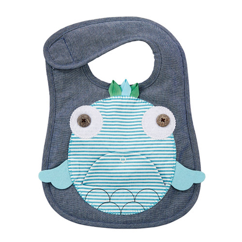 Mud Pie Navy and Teal Fish Baby Boy or Girl Toddler Bib Cloth Chambray Appliqued