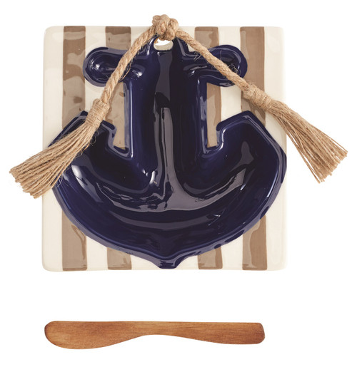 Mud Pie Anchor Shape Dip Bowl with Jute Rope and Wood Blade Spreader Serving Set