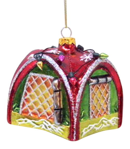 December Diamonds Outdoorsman Tent Decorated for Holidays Ornament Glass