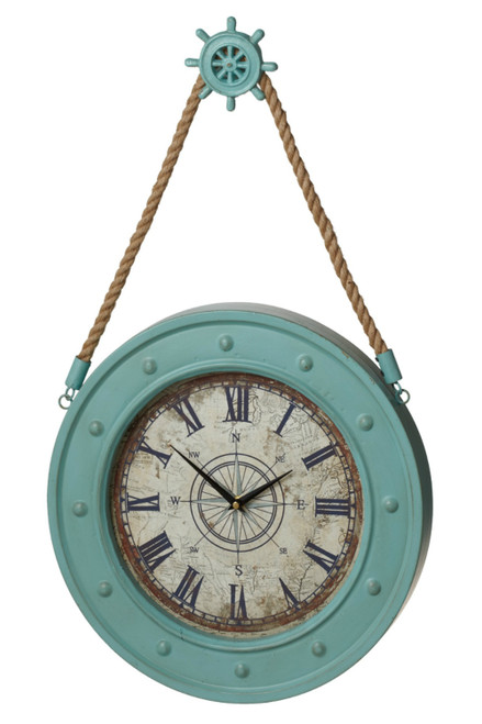 Midwest CBK Aqua Compass Wall Clock With Ships Wheel Hook Battery Operated