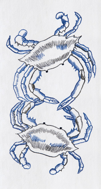 Blue Crabs on White Flour Sack Kitchen Towel Cotton 27 Inches