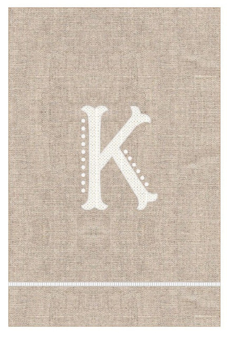 Mud Pie Initial K Monogram Hand Tied French Knot Linen Guest Towel 21 Inch