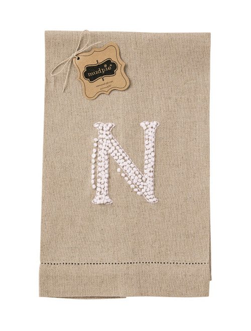 Mud Pie Initial N Monogram Hand Tied French Knot Linen Guest Towel 21 Inch