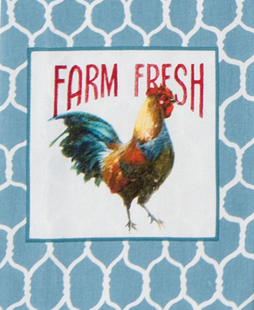 Kay Dee Farm Nostalgia Rooster and Chicken Wire Blue and White Kitchen Tea Towel
