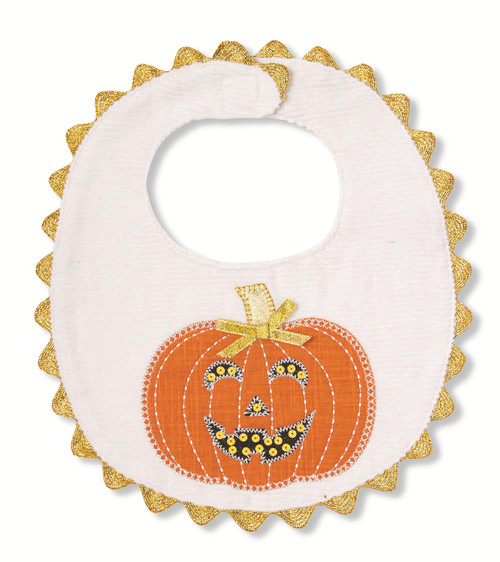 Mud Pie Fall Halloween Pumpkin Appliqued Baby Toddler Bib