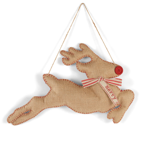 Mud Pie Red Nosed Reindeer Dimensional Burlap Door Hanger 18.5 Inches