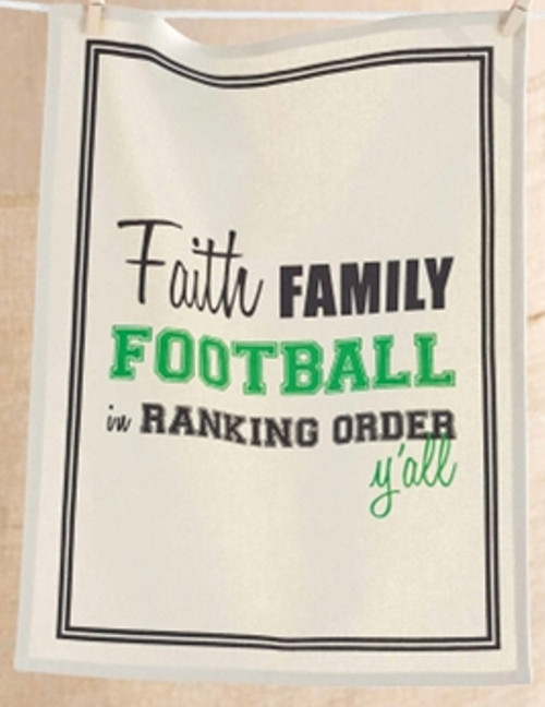 Mud Pie Faith Family and Football Fun Man Cave Game Day Bar Towel 22.5 Inches
