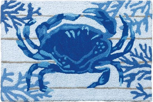 Shades of Blue Indigo Crab and Coral 30 x 20 Inches Accent Throw Rug