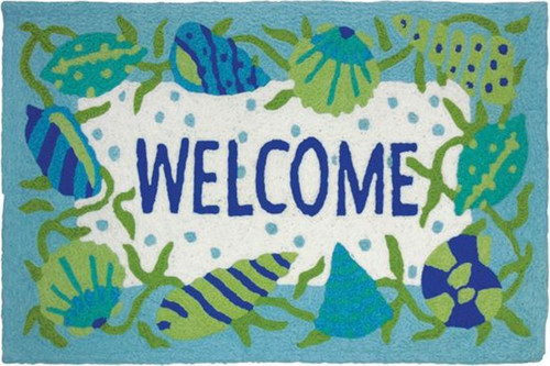 Teal Blue and Green Shells Beach Welcome 33 X 21 Inches Accent Throw Rug