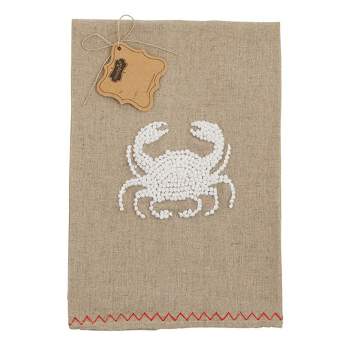 Mud Pie Coastal Crab French Knot Oatmeal Linen Bathroom Guest Towel