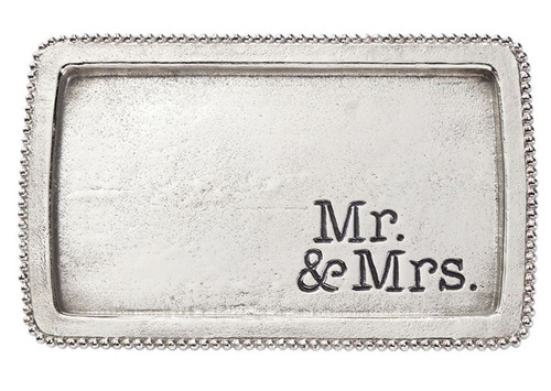 Mud Pie Mr and Mrs Trinket Tray Beaded Edge Aluminum 11.5 Inches