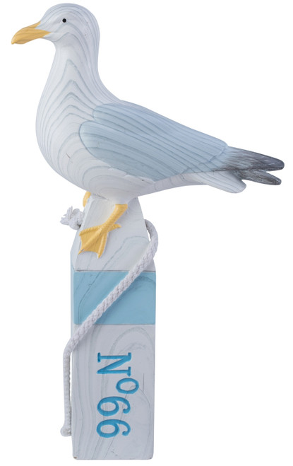 Beachcombers Seagull Perched on Blue and White Buoy Tabletop Figurine 11 Inches