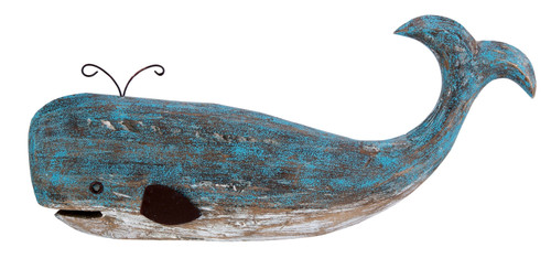 Beachcombers Ocean Blue Whale Tabletop Figurine 16 Inches Wood