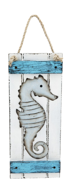 Beachcombers Blue White Seahorse Wall Plaque Sign Metal and Wood 11.75 Inches