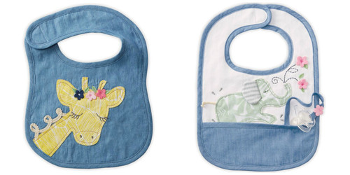 Mud Pie Sweet Yellow Giraffe and Green Elephant Baby Toddler Cloth Bibs Set of 2
