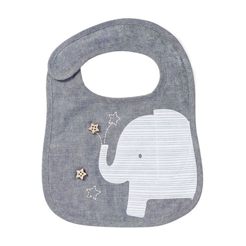 Mud Pie Grey Elephant Chambray Baby Toddler Cloth Bib