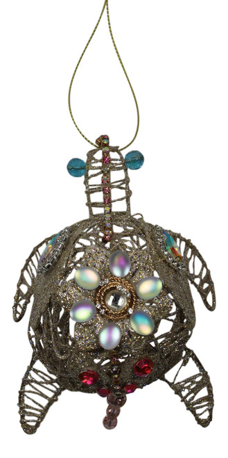 Katherine's Collection Jeweled Glittery Sea Turtle Wire Holiday Ornament