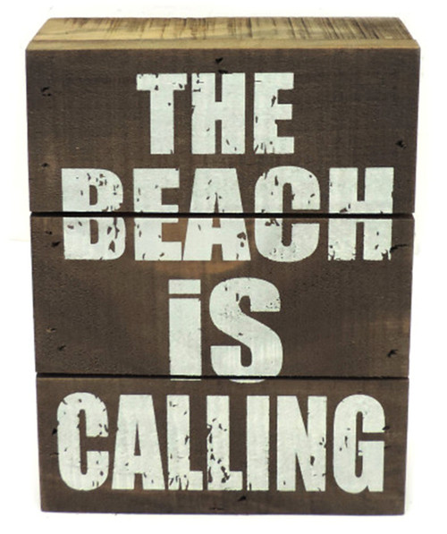 The Beach is Calling Box Shelf Sign Stained Wood 7 Inches