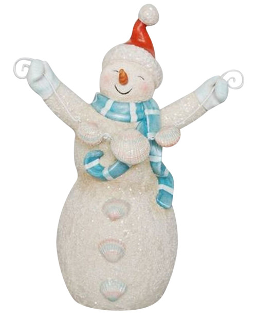 December Diamonds Coastal Sandy Jolly Snowman Holiday Tabletop Decor 10 Inches