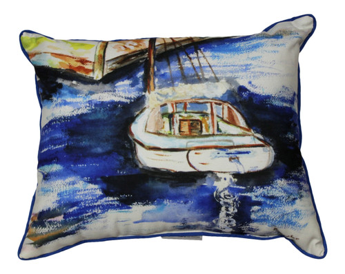 Betsy Drake Sailboat and Dock Accent Throw Pillow Indoor Outdoor 18 X 18 Inches
