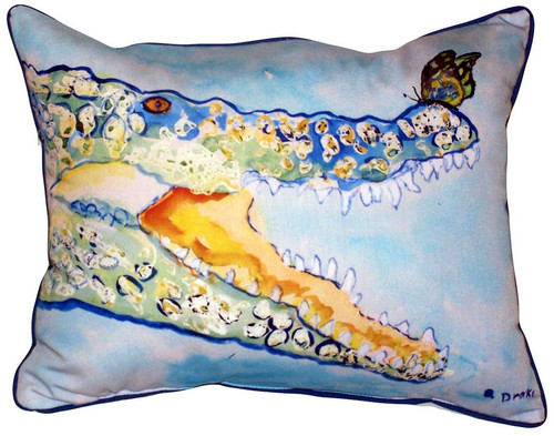 Betsy Drake Crocodile and Butterfly Accent Throw Pillow Indoor Outdoor 18 Inch
