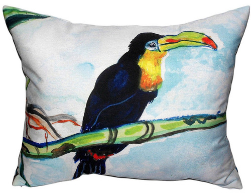 Betsy Drake Toucan Tropical Bird Accent Throw Pillow Indoor Outdoor 18 Inches