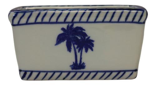 Palm Trees Sweetner or Tea Bag Holder Porcelain Blue and White