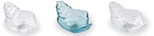 Mud Pie Ocean Blue and Clear Conch Shell Shaped Glass Dip Serving Cups Set of 3