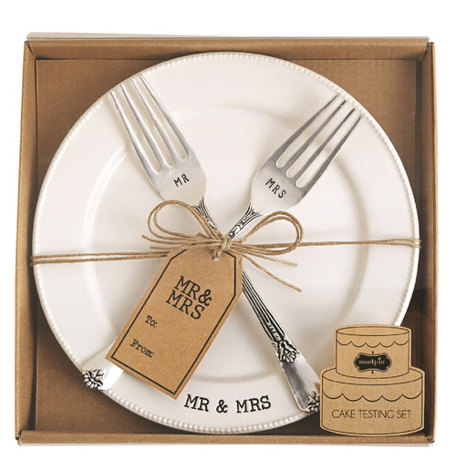 Mud Pie Mr and Mrs Plate and Fork Wedding or Anniversary Serving Set