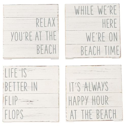 Mud Pie Relax Happy Hour Flip Flops On Beach Time Planked Wood Coaster Set of 4