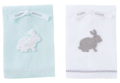 Mud Pie Happy Always Blue and White Bunny French Knot Guest Hand Towels Set of 2