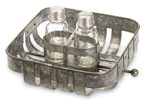 Mud Pie Tin Napkin Holder With Glass Farmhouse Salt and Pepper Shakers Set